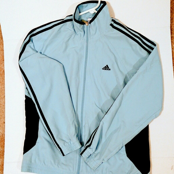 9536b41f2cd0 adidas Jackets   Blazers - Light blue Adidas Three Stripe Zip Up